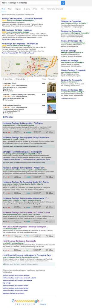 Busqueda de hoteles de Santiago en Google