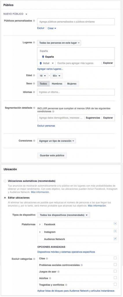 Segmentación de FacebookAds